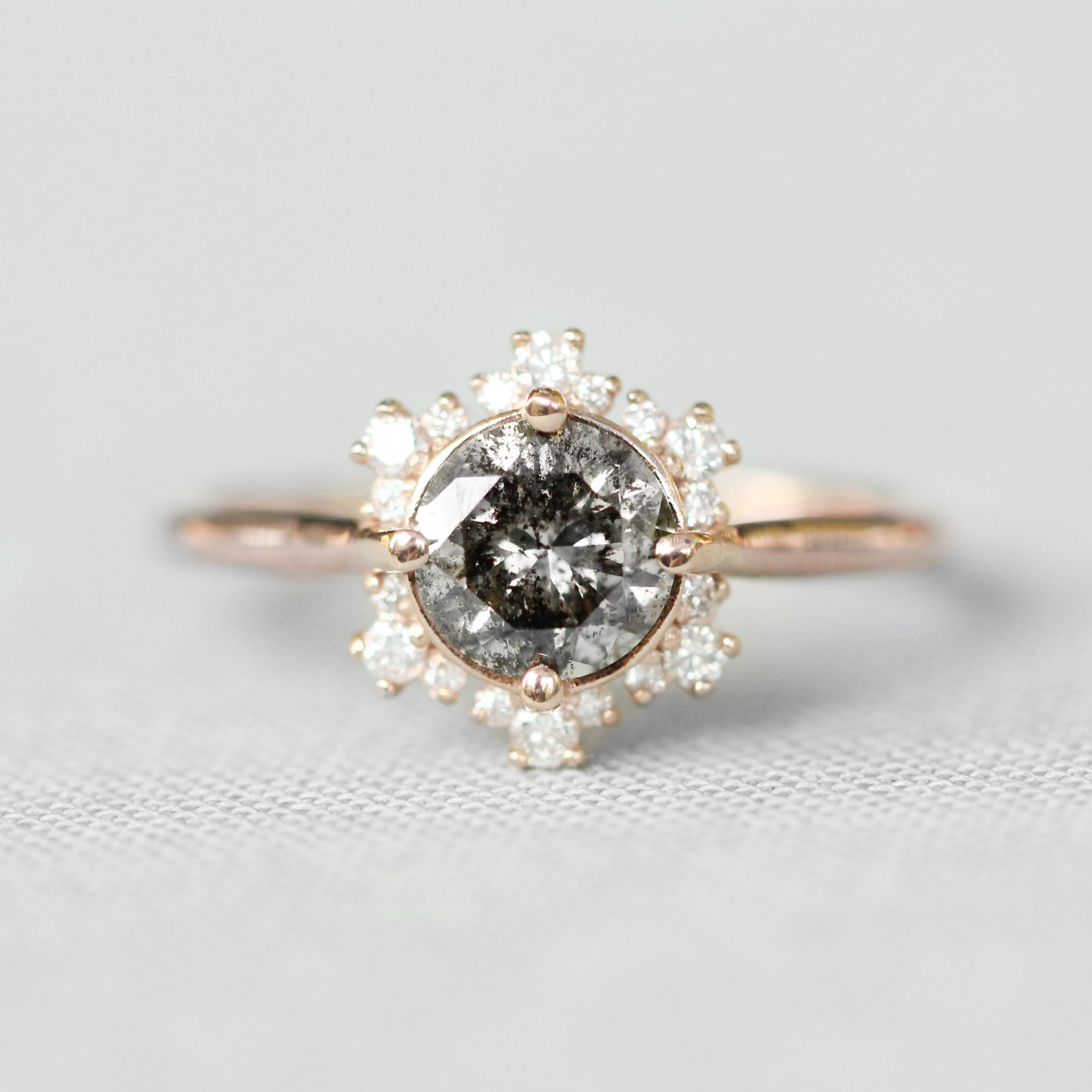 Orida Ring with a 1 Carat Celestial and Diamond Hexagon Halo in 10k Rose Gold - Ready to Size and Ship
