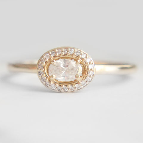 Oval Diamond Ring - White diamond halo - 14k yellow gold - Ready to size and ship