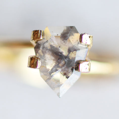 .74 carat geometric pear diamond - gray and clear celestial for custom work - inventory code geop74