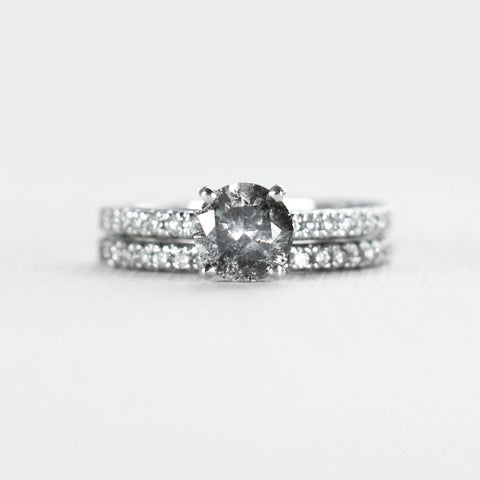 Monroe - Certified Platinum and French Set Diamond Ring Engagement Wedding Set with 1.14 Carat black clear celestial diamond - Ready to size and ship