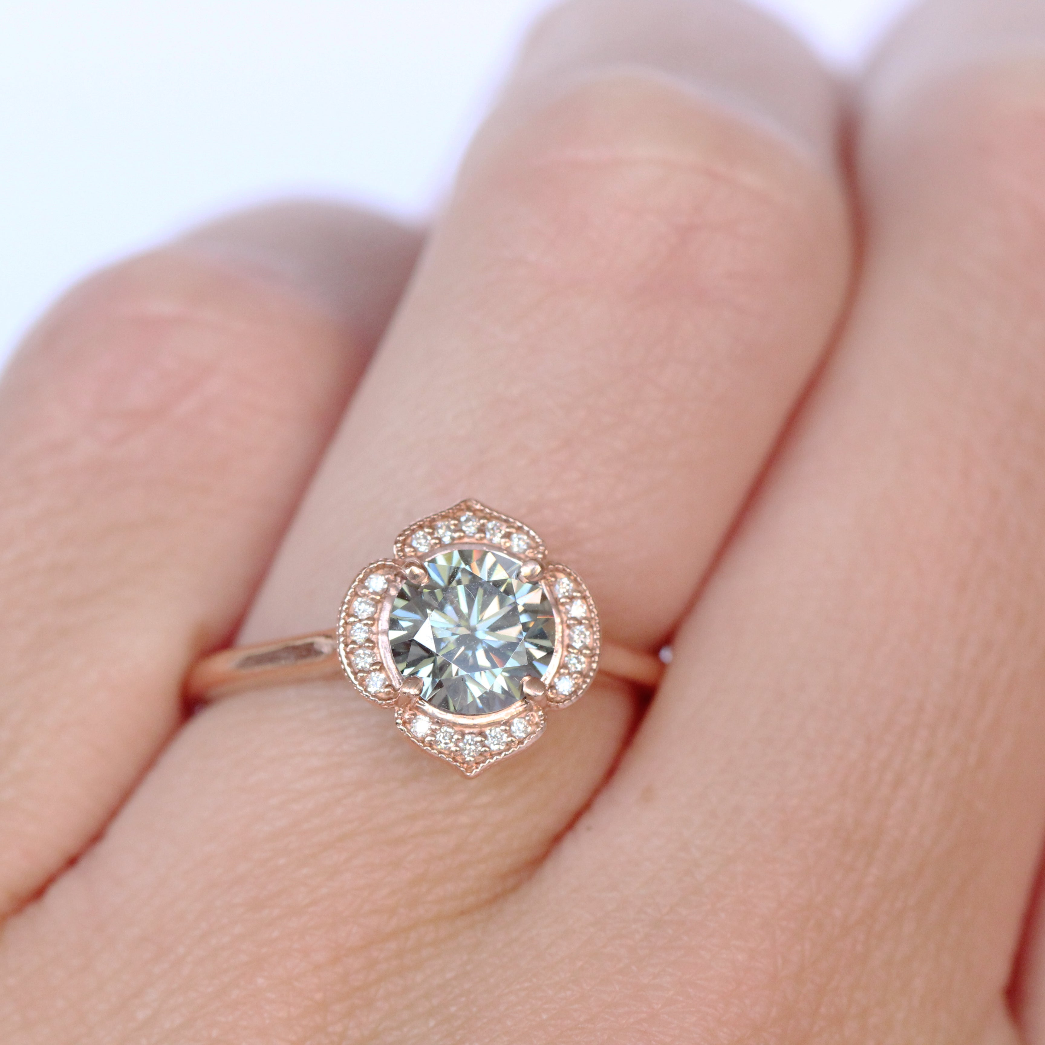 Clementine Ring with a Gray Moissanite in 10k Rose Gold - Ready to Size and Ship