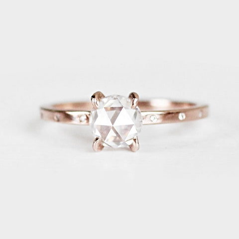 Ivan - Rose cut white Moissanite diamond inlay 4 prong setting - 1 in 10k rose in size 6 is ready to ship
