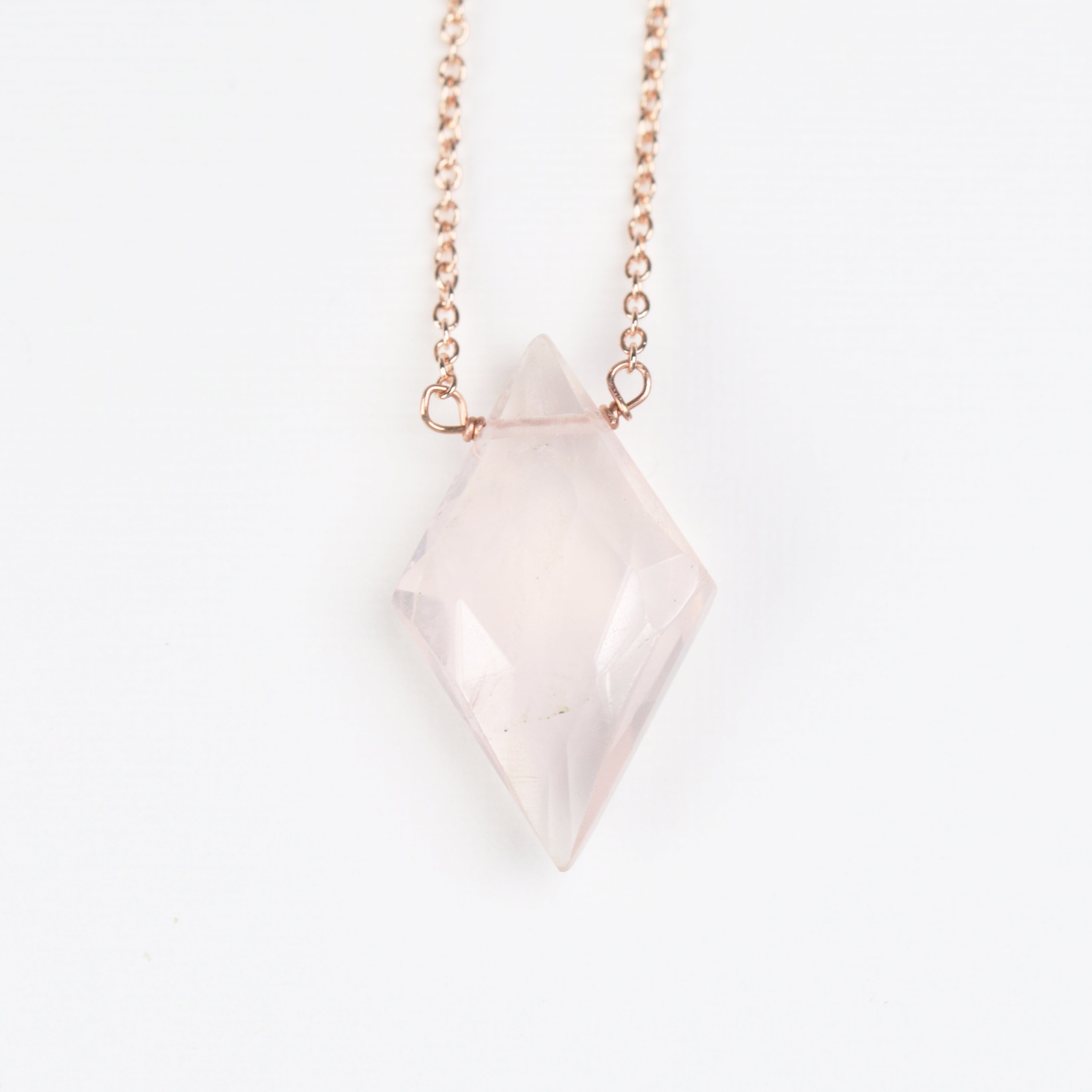 Rose Quartz Pendant Necklace with 14k Rose Gold Fill or Sterling Silver Chain - Midwinter Co. Alternative Bridal Rings and Modern Fine Jewelry