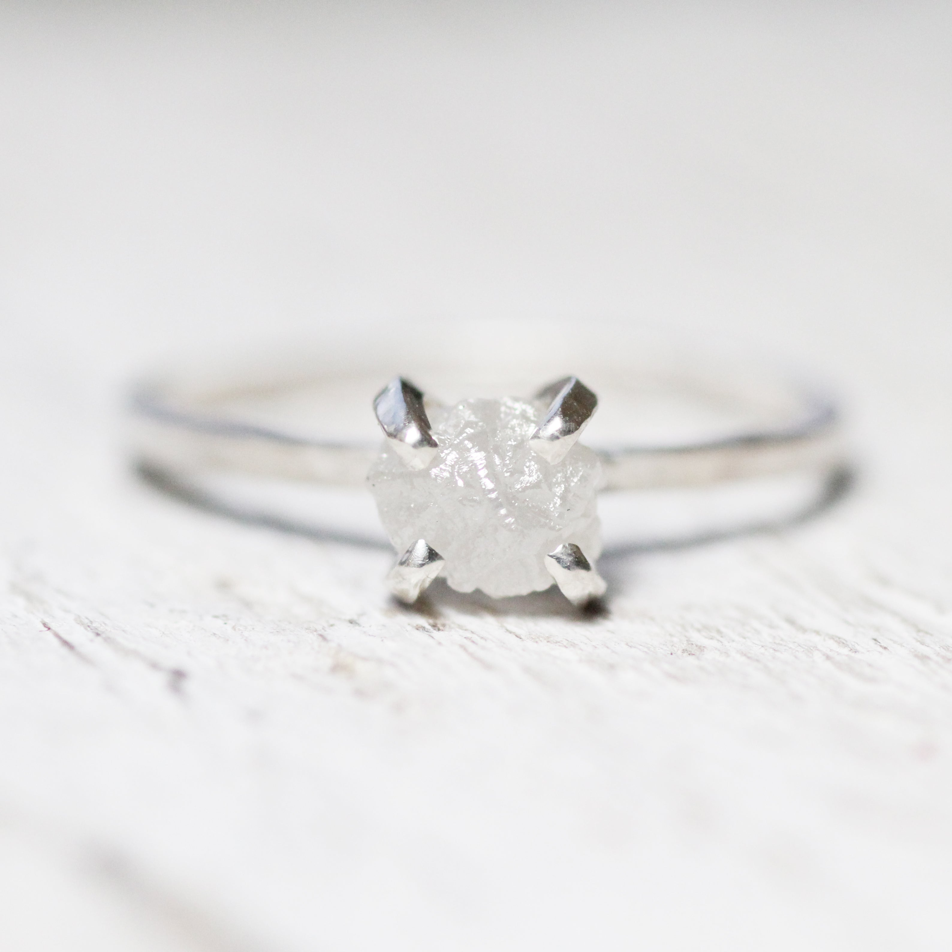 Rough Diamond Solitaire Ring Gold Sterling Ethically Sourced