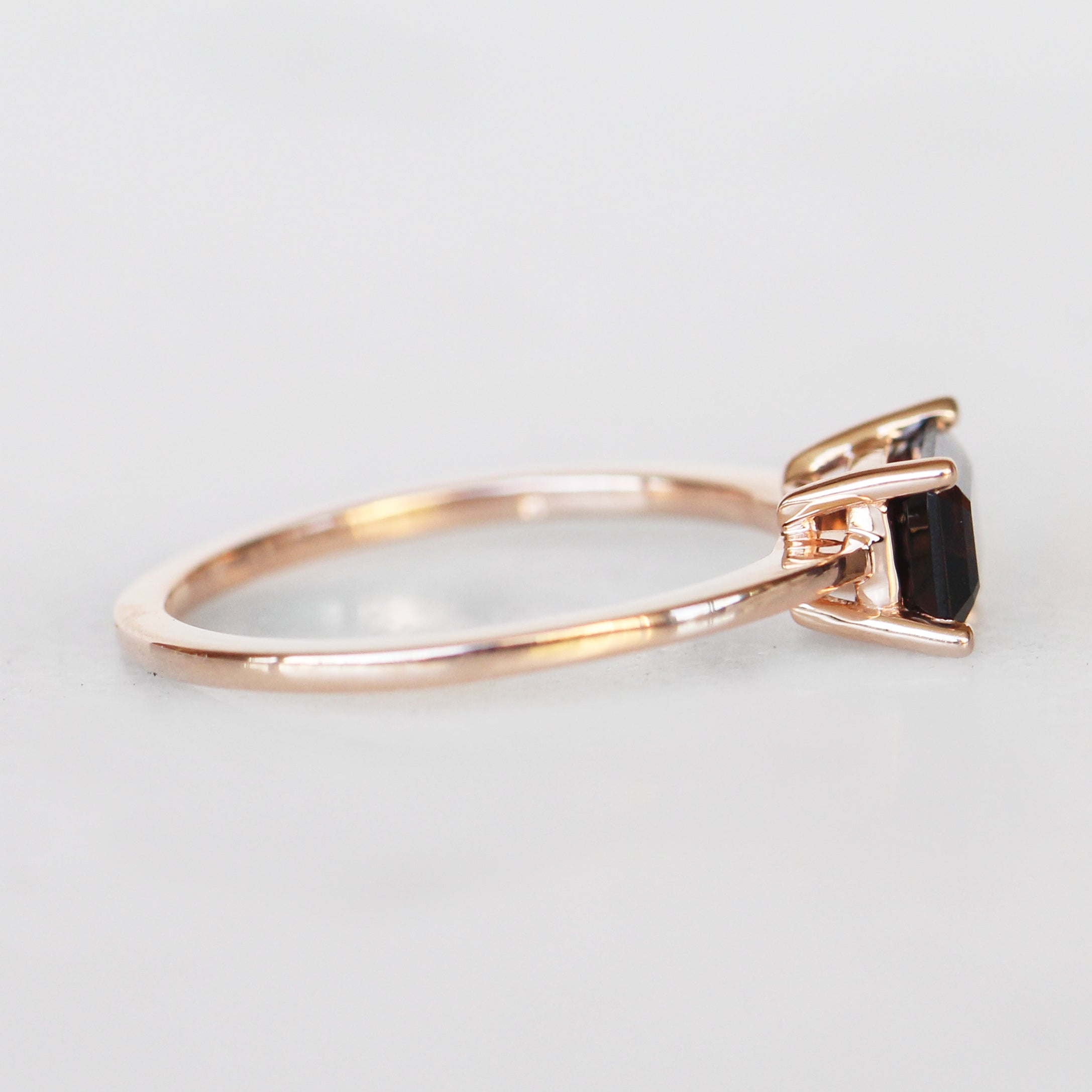 Ruthie Ring with Smokey Quartz in 10k Rose Gold - Ready to Size and Ship - Celestial Diamonds ® by Midwinter Co.