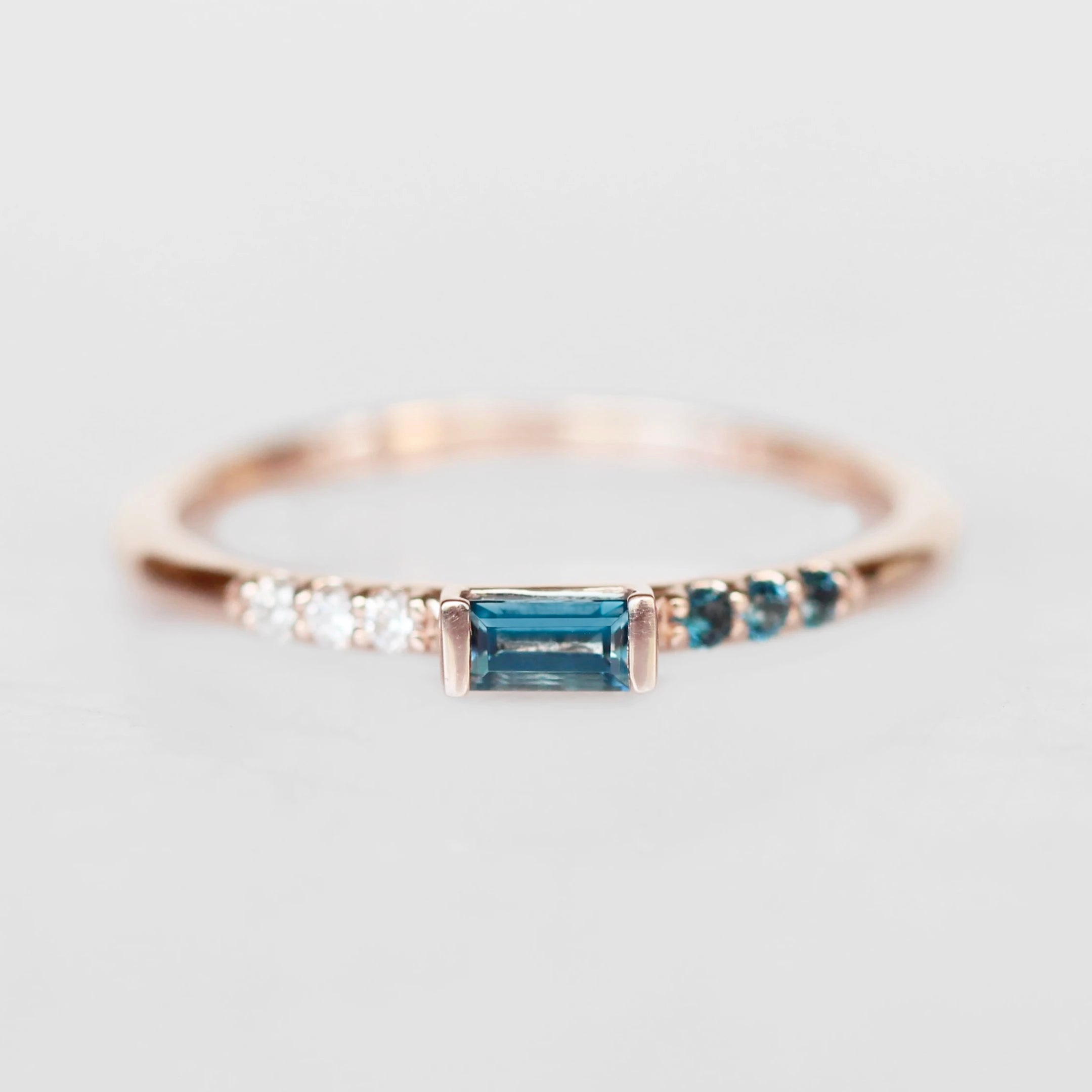 Summer Stacking Ring with London Blue Topaz and White Diamonds in 10k Rose Gold - Ready to Size and Ship - Midwinter Co. Alternative Bridal Rings and Modern Fine Jewelry