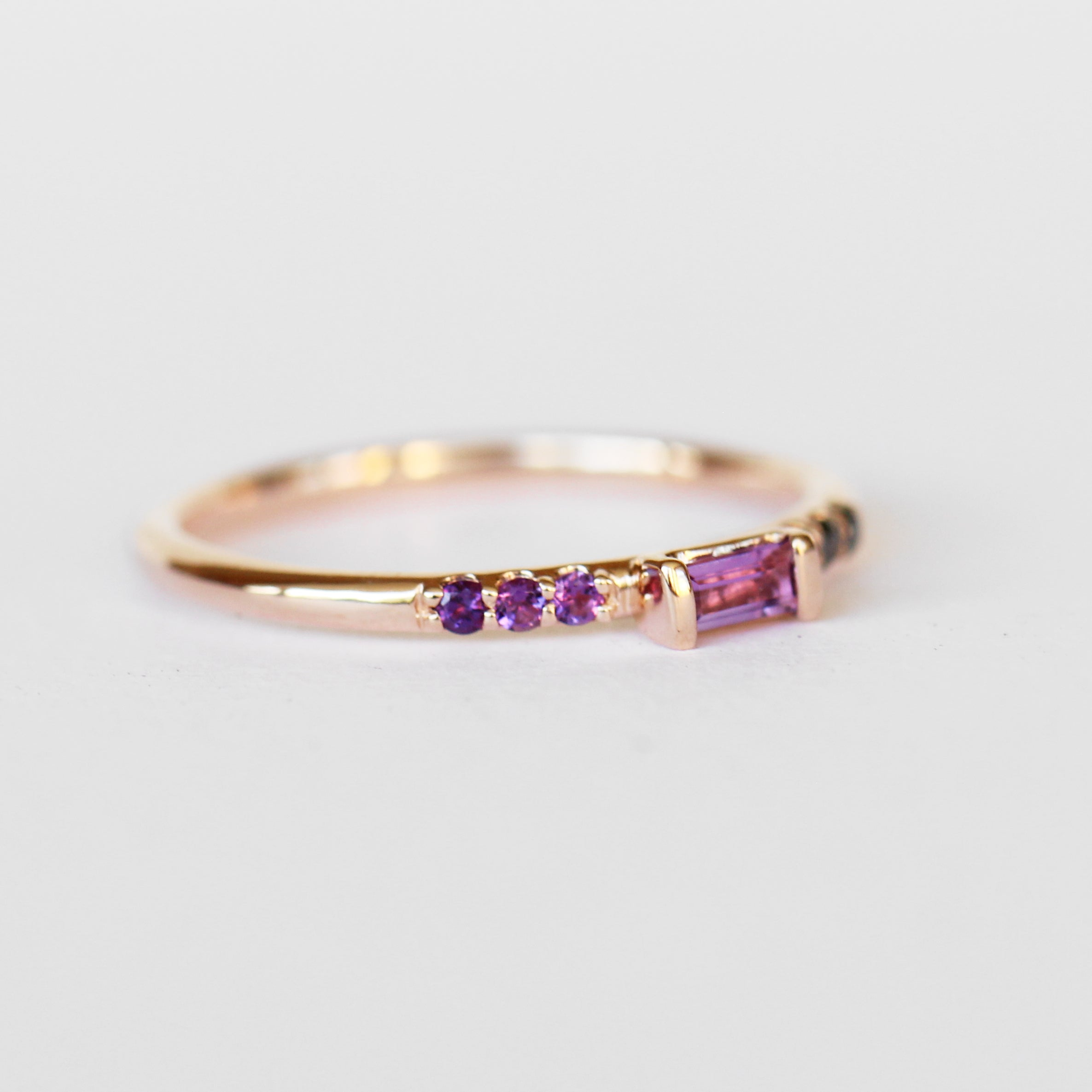 Summer Stacking Ring with Amethyst and Black Diamonds in 10k Rose Gold - Ready to Size and Ship - Midwinter Co. Alternative Bridal Rings and Modern Fine Jewelry
