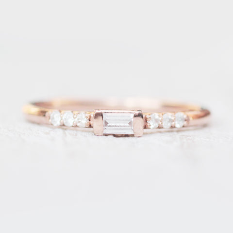 Summer - White sapphire and white diamonds in 10k rose gold - Ready to size and ship