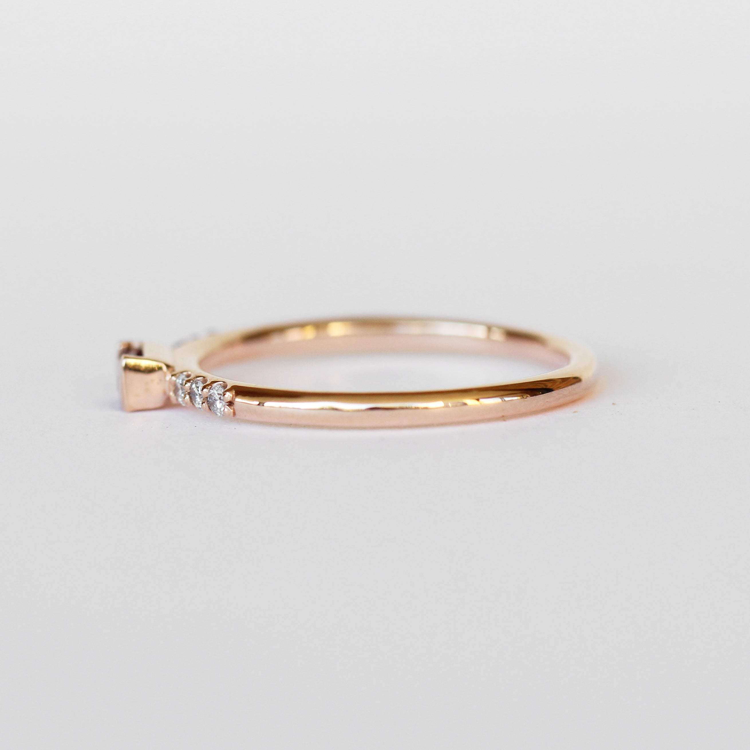 Summer Stacking Ring with Garnet and White Diamonds in 10k Rose Gold - Ready to Size and Ship - Midwinter Co. Alternative Bridal Rings and Modern Fine Jewelry