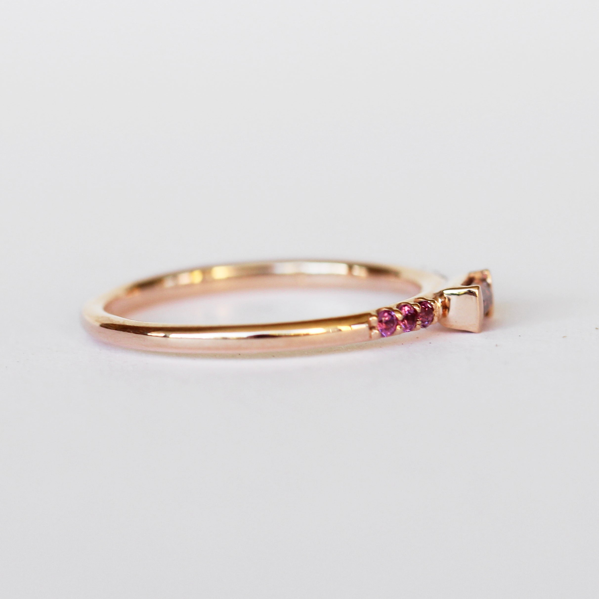 Summer Stacking Ring with Garnet and White Diamonds in 10k Rose Gold - Ready to Size and Ship - Salt & Pepper Celestial Diamond Engagement Rings and Wedding Bands  by Midwinter Co.