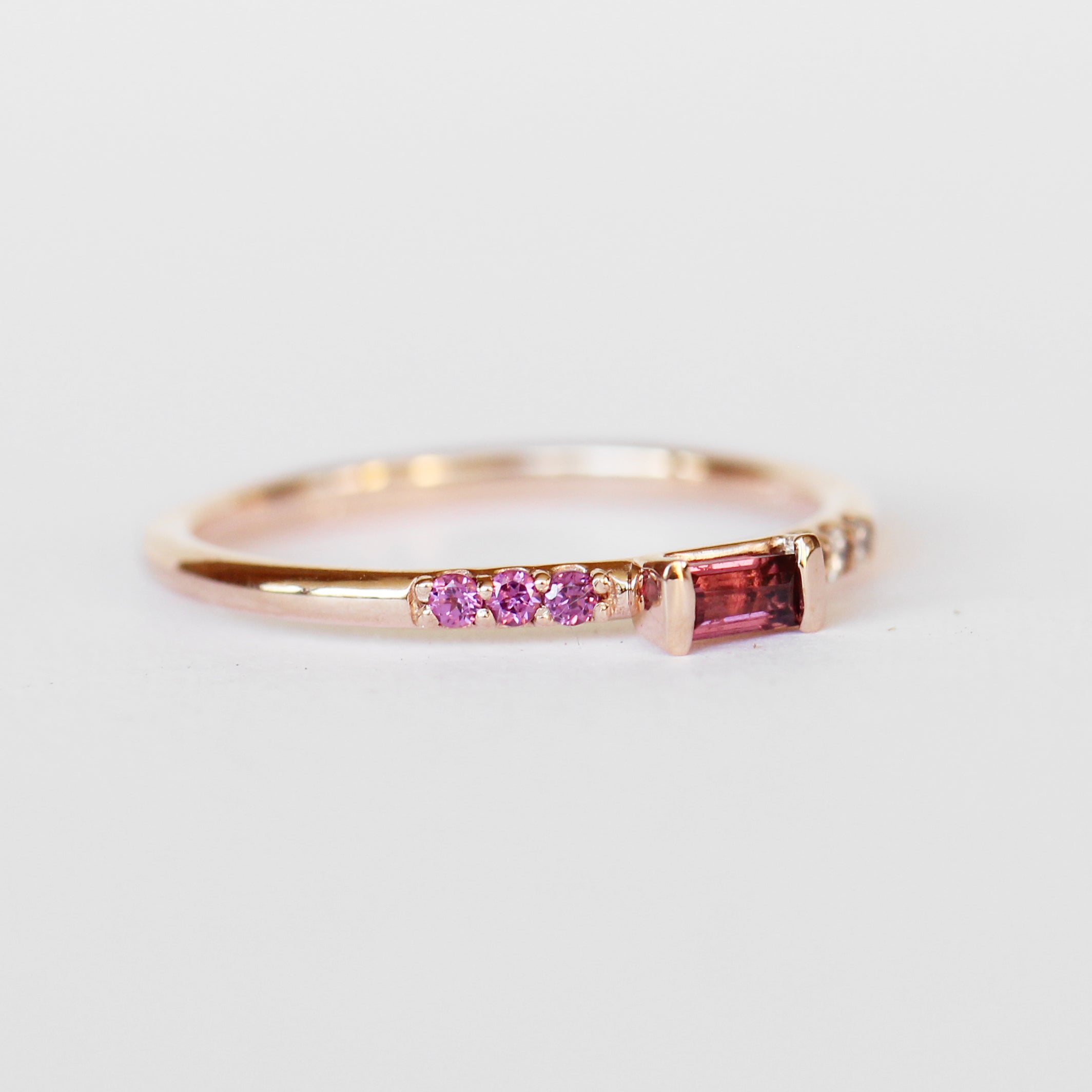 Summer Stacking Ring with Garnet and White Diamonds in 10k Rose Gold - Ready to Size and Ship - Celestial Diamonds ® by Midwinter Co.