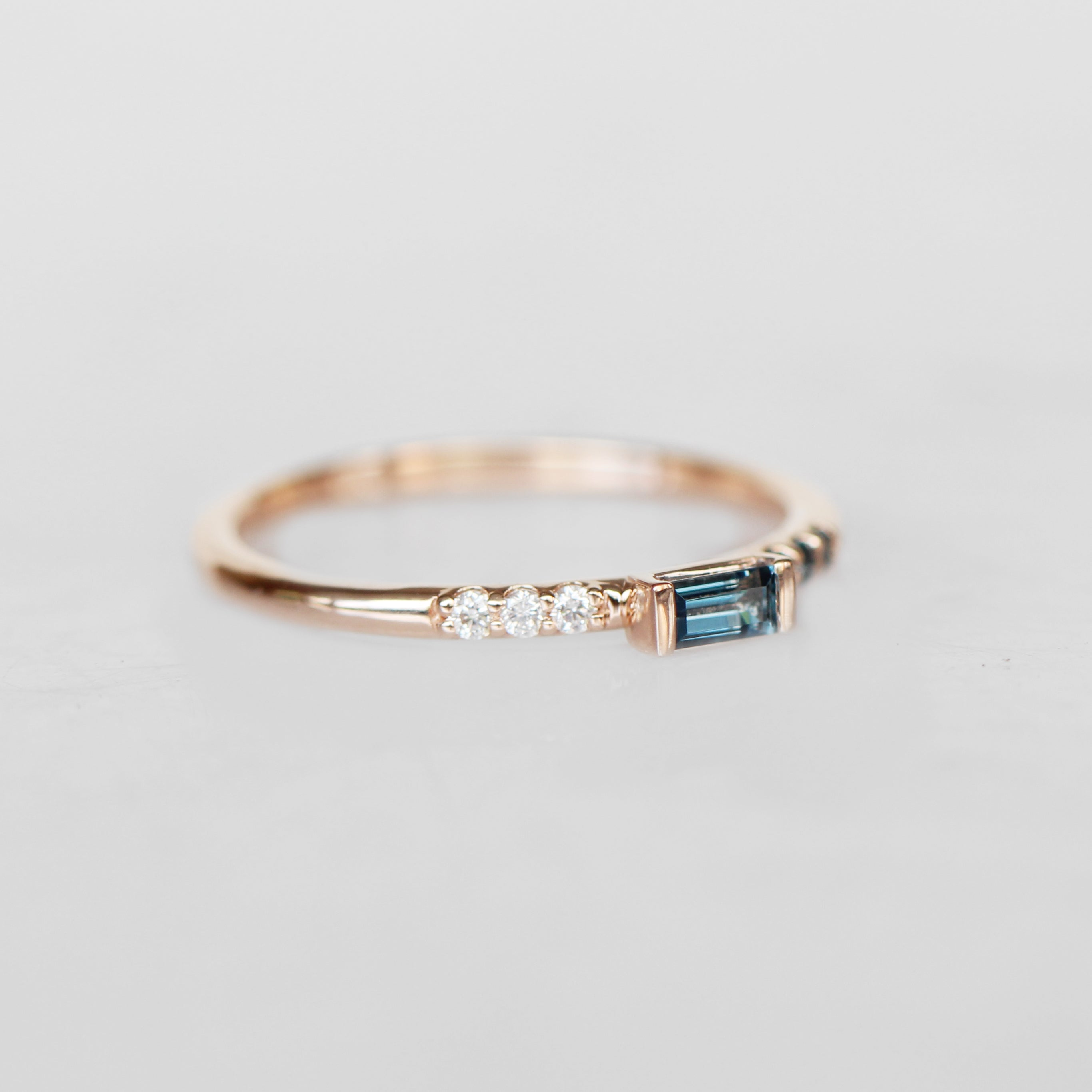 Summer Stacking Ring with London Blue Topaz and White Diamonds in 10k Rose Gold - Ready to Size and Ship - Salt & Pepper Celestial Diamond Engagement Rings and Wedding Bands  by Midwinter Co.