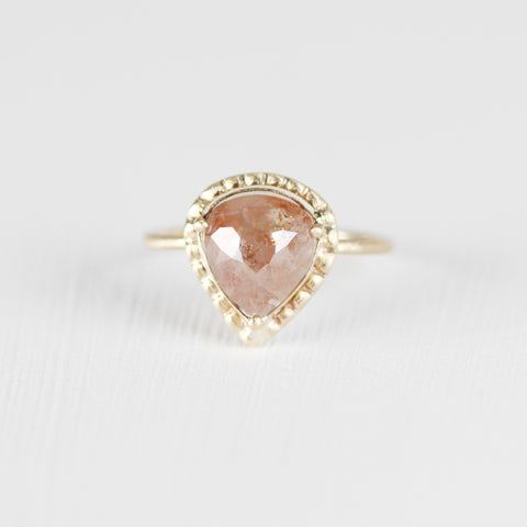 1.4 carat peach diamond with in 14k yellow gold - ready to size and ship