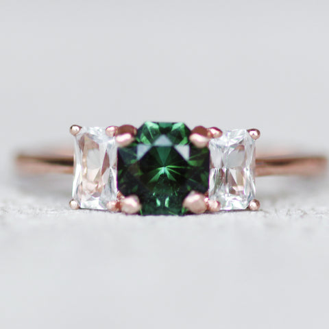 Hellen - Tourmaline and Topaz Three Stone Ring - Ready to size and ship