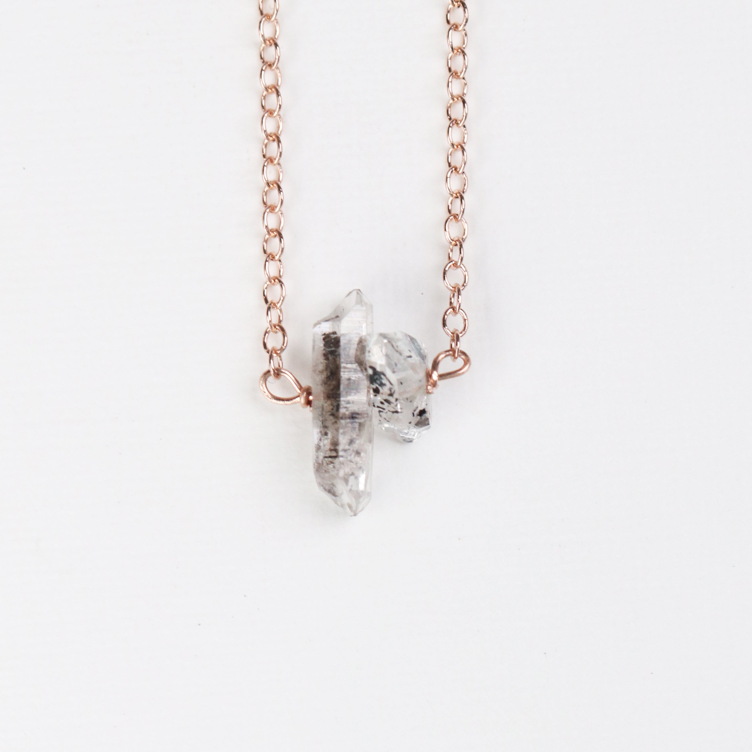 Raw Tourmalinated Quartz Necklace with 14k Rose Gold Fill or Sterling Silver Chain - Celestial Diamonds ® by Midwinter Co.