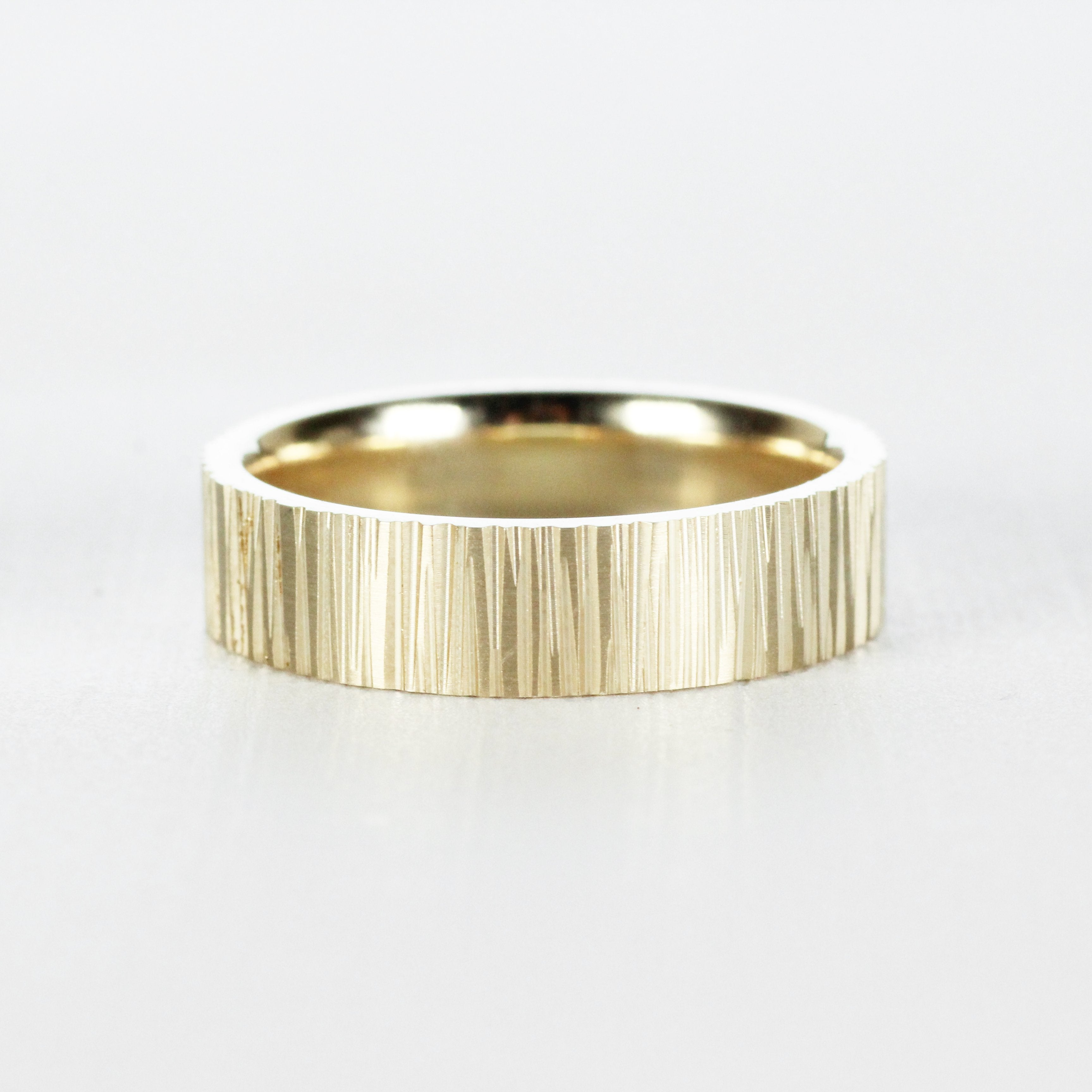 Tree Bark Texture Wedding Band Ring - 4mm 5mm 6mm - Unisex