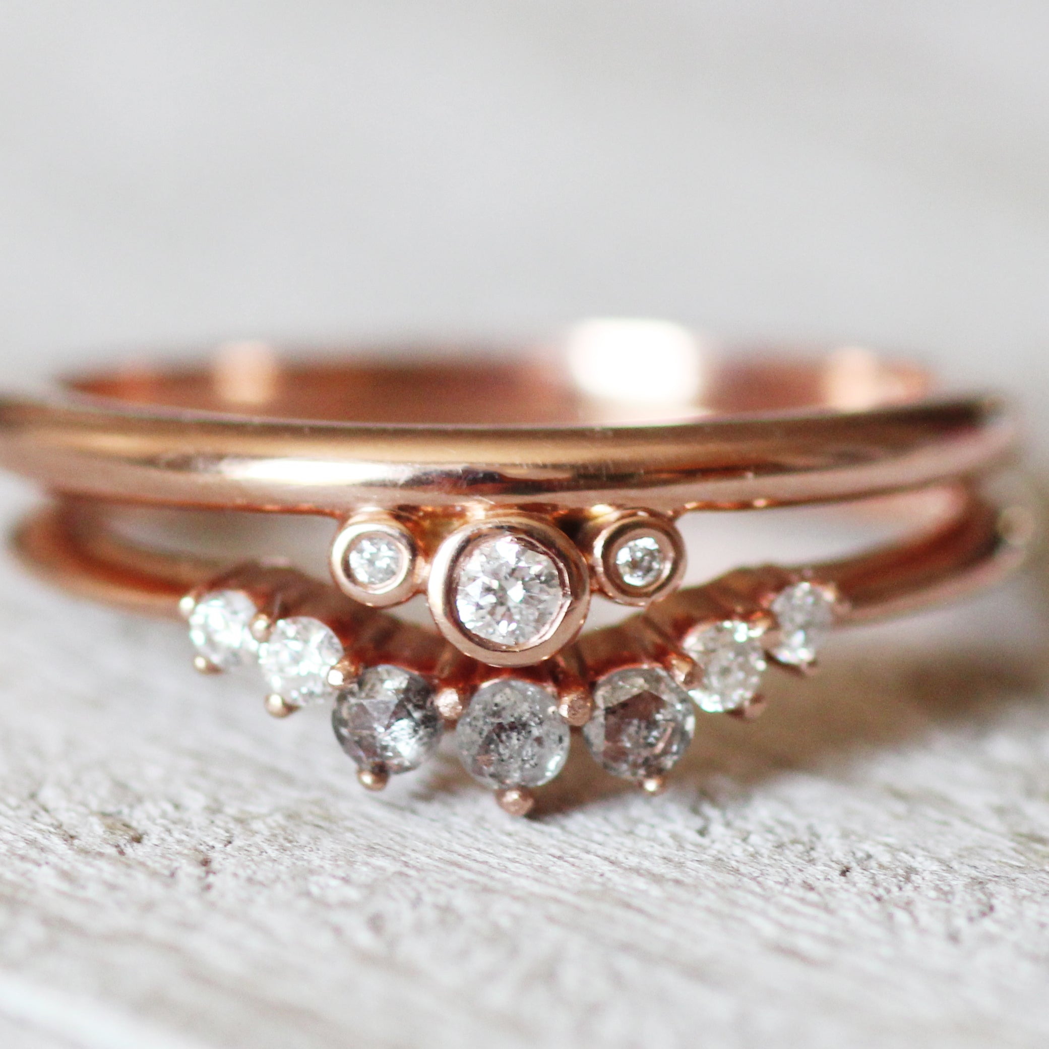 Trinity Ring with Bezel Set Diamonds in 10k Rose Gold - Ready to Size and Ship - Midwinter Co. Alternative Bridal Rings and Modern Fine Jewelry