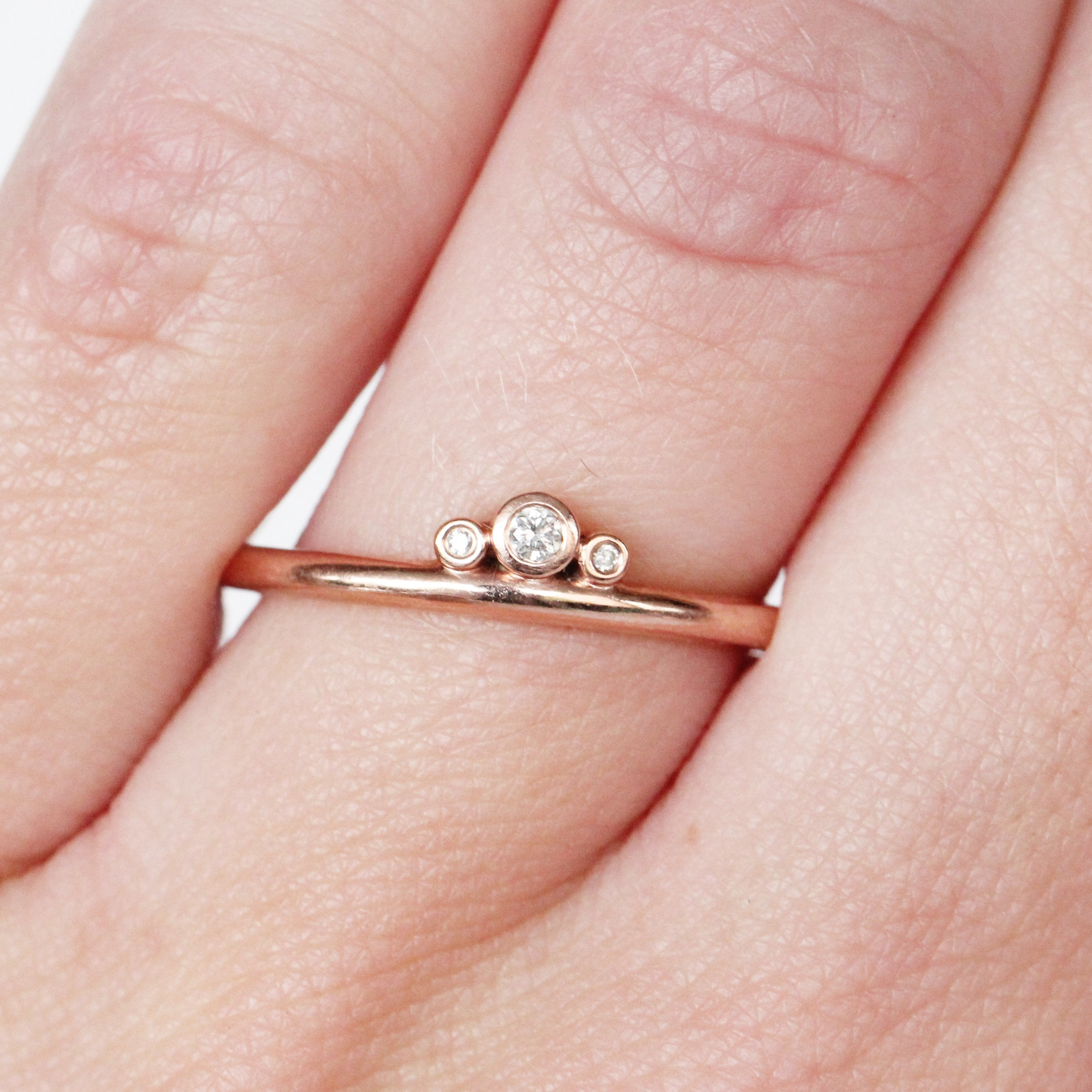 Trinity Ring with Bezel Set Diamonds in 10k Rose Gold - Ready to Size and Ship - Salt & Pepper Celestial Diamond Engagement Rings and Wedding Bands  by Midwinter Co.