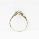 Antique - .2 carat floral filigree vintage ring in 14k yellow gold