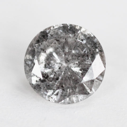 1.01 carat gray and black speckled round celestial diamond for custom work - inventory code WBR101