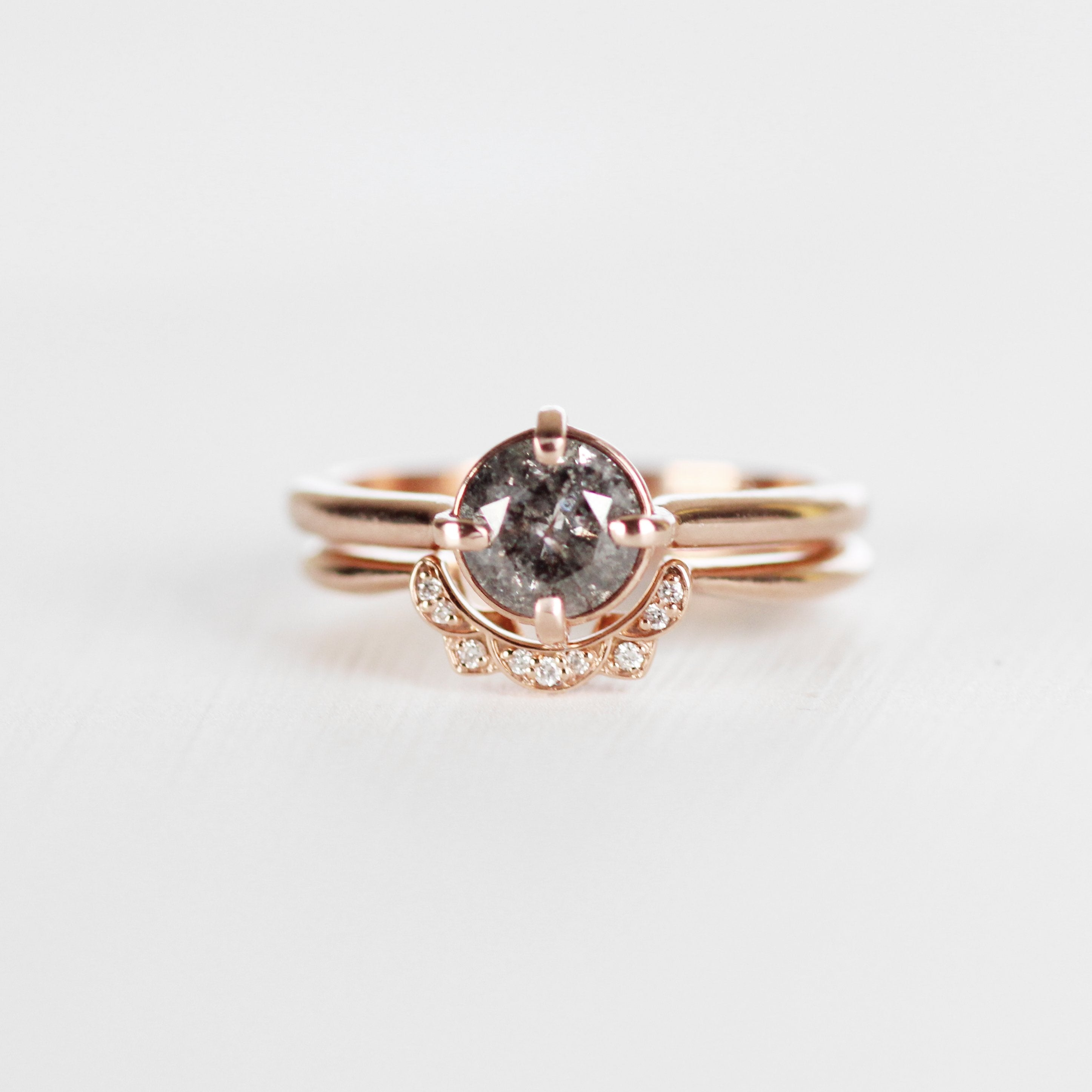 West wedding band - vintage inspired diamond contour band - 14k gold of choice - Midwinter Co. Alternative Bridal Rings and Modern Fine Jewelry