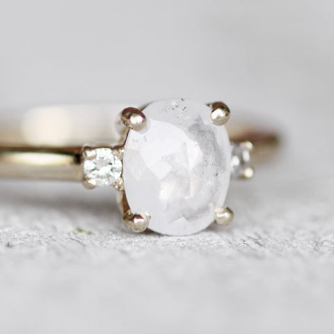 Terra - White Misty Oval Diamond and white clear diamond ring - 14k yellow gold - Ready to size and ship