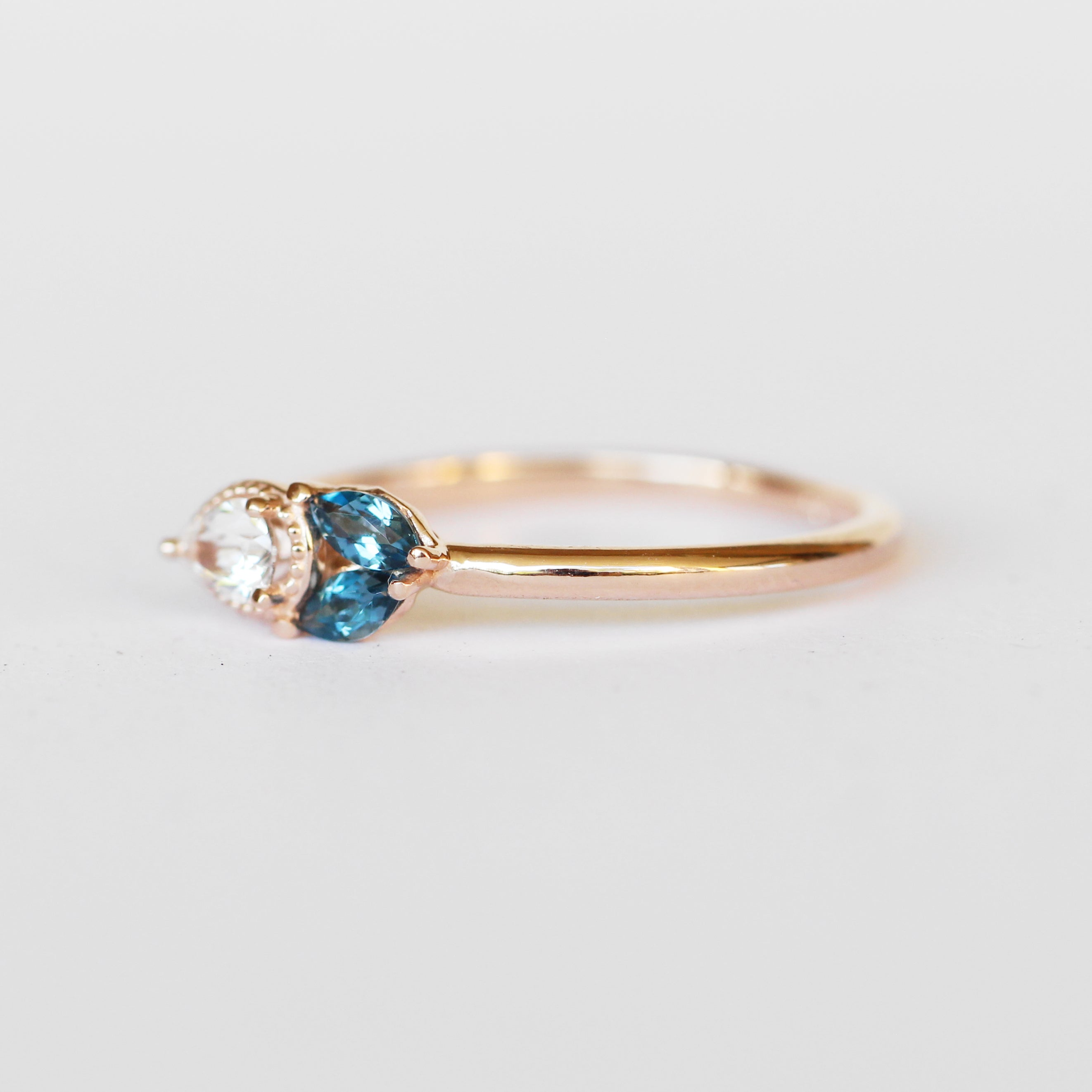 Ariana Ring with London Blue Topaz Marquise + Sapphire Pear in 10k Rose Gold - Ready to Size and Ship - Celestial Diamonds ® by Midwinter Co.
