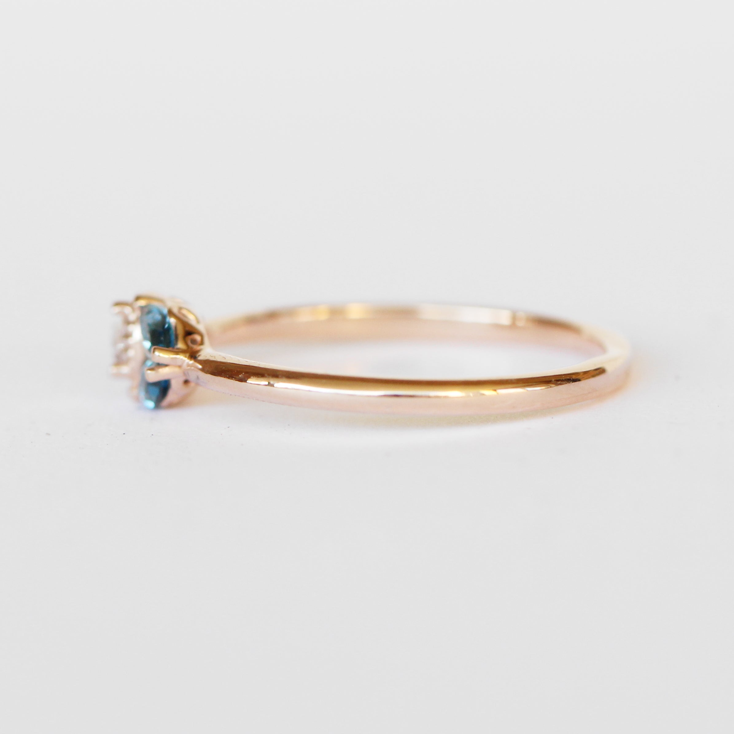 Ariana Ring with London Blue Topaz Marquise + Sapphire Pear in 14k Gold - Made to Order - Midwinter Co. Alternative Bridal Rings and Modern Fine Jewelry