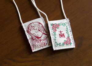 Premium Brown Scapular, Cream & Rose Pietà