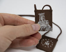 Load image into Gallery viewer, Premium Brown Scapular, Brown & Cream, Our Lady of Mt. Carmel