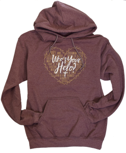 Who's Your Hero Heart Fleece Hoodie