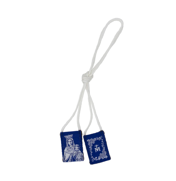 Premium Brown Scapular, Blue & White Rose
