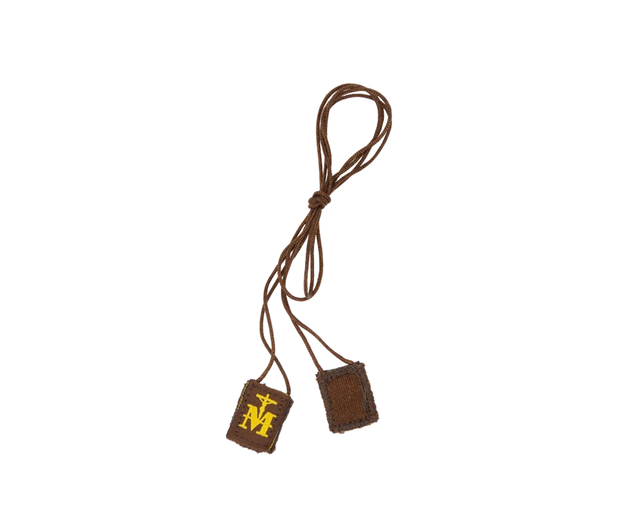 Premium Brown Scapular, Brown & Gold (Mini)