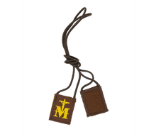 Load image into Gallery viewer, Premium Brown Scapular, Brown & Gold