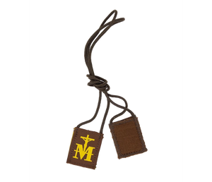 Premium Brown Scapular, Brown & Gold