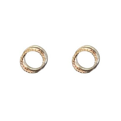 Sterling 2 Tone Circle Twist Earring Silver/Rose