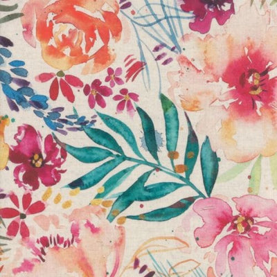 Brightly Blooming Flower Party Linen in Natural
