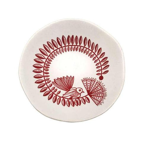 Red Fantail on White Bowl