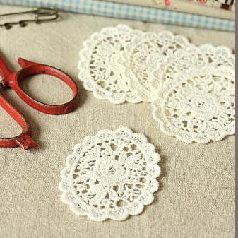 Cotton Lace Applique Oval - Flower x 2