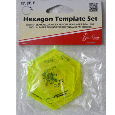 Hexagon Template Set ½, ¾, and 1""