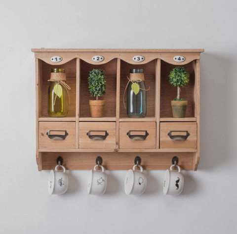 Zakka Shelf with Drawers and Hooks