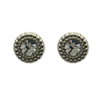 Elly Textured Border Crystal Stud Clear