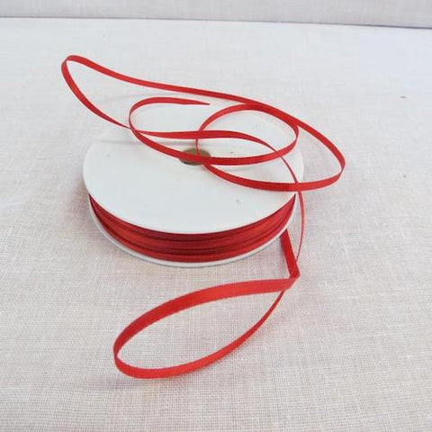 Double Sided Satin Ribbon - Red 3mm