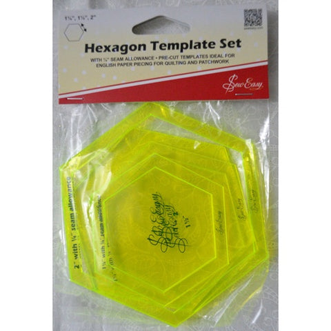 Hexagon Template Set 1 ¼, 1 ½, and 2""