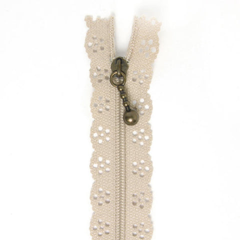Lace Zip Beige
