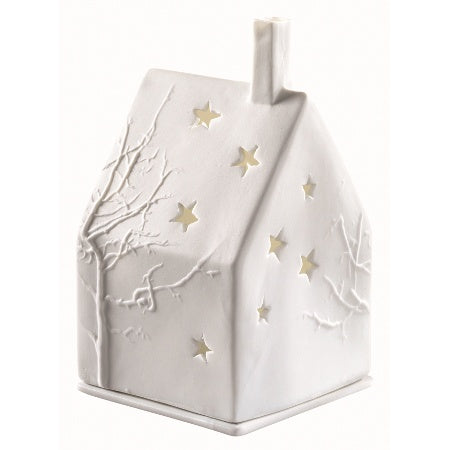 Porcelain House Tealight - Branch and Stars