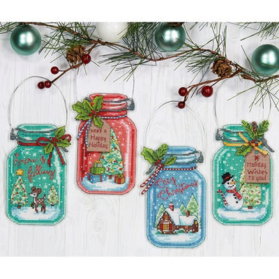 Dimensions Christmas Jar Ornament Set Cross Stitch Kit