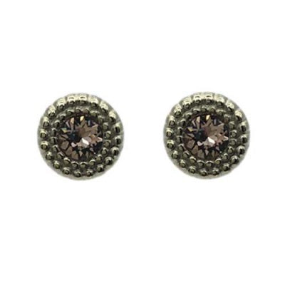 Elly Textured Bordered Crystal Stud Vintage Rose
