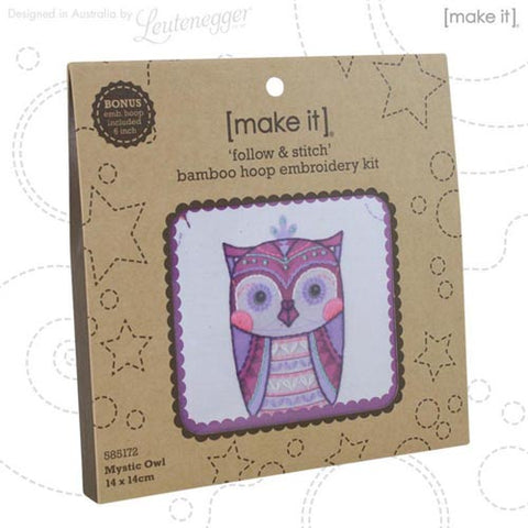 Make It Mystic Owl Bamboo Hoop Embroidery Kit