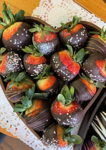 Solid Chocolate Heart Box Full of Chocolate Dipped Strawberries, Standard Size